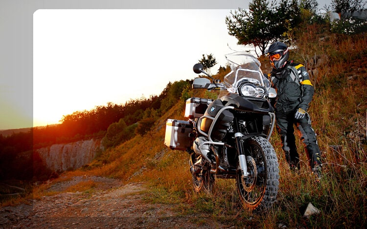bmw and rider off-road - motorcycle seat pad