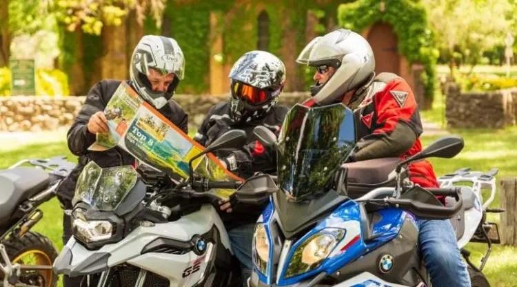 bikers checking map
