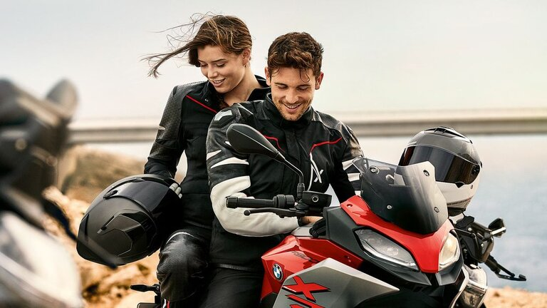 rider and passenger on bmw xr - touring with a pillion