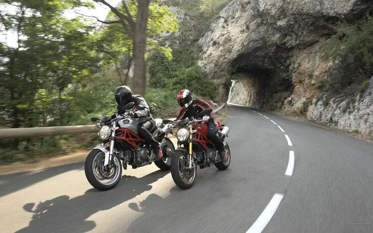 ducati monster's on mountain pass