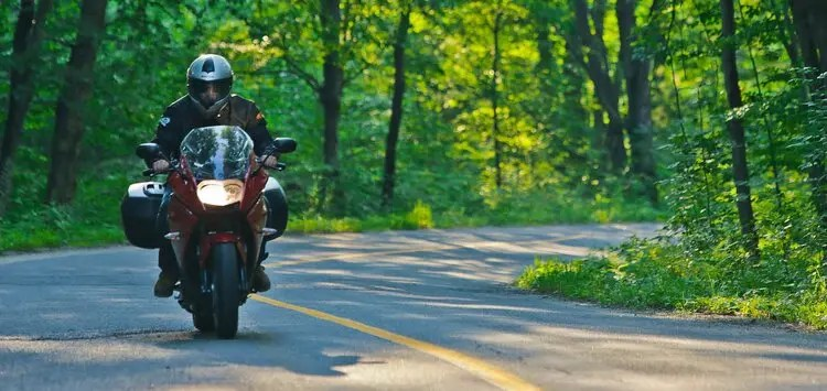 motorcyclist riding through forest - motorcycle touring mistakes