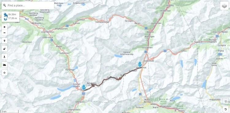 Switzerland's big 3 mountain passes on the map