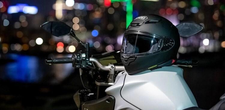 shoei helmet on bike - quietest motorcycle helmets