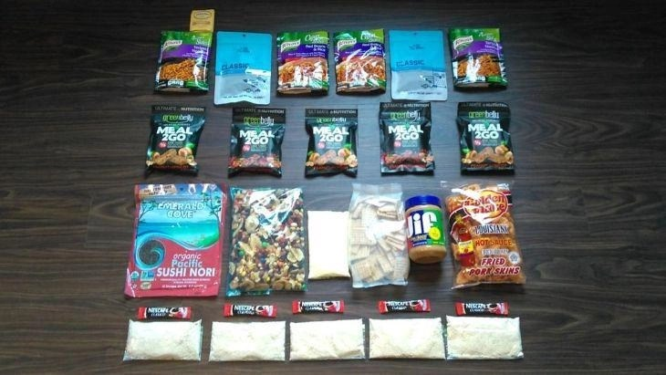 range of backpacking meals - motorcycle camping food