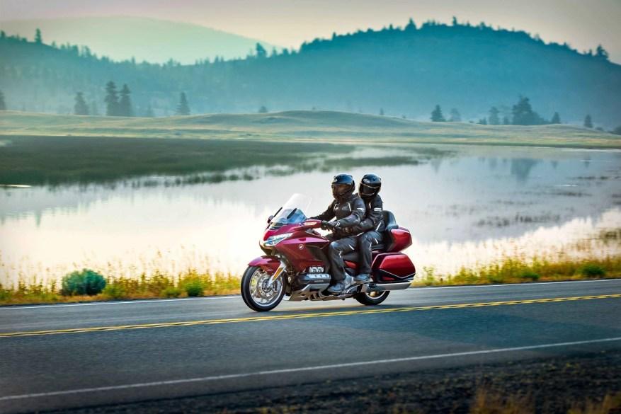 honda goldwing with rider and passenger