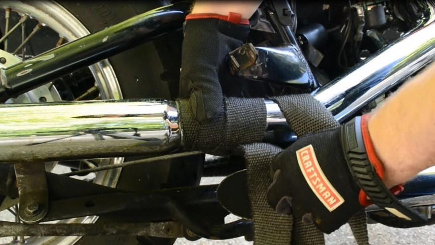 wrapped exhaust in black on custom motorcycle
