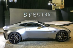 """An Aston Martin DB10 car is seen during an event to mark the start of production for the new James Bond film """"Spectre"""", at Pinewood Studios"""