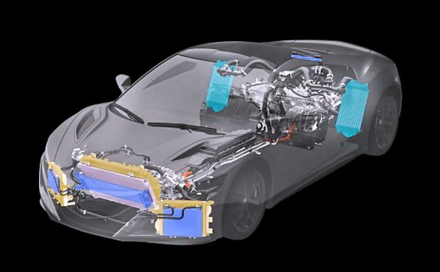 The NSX features an all-new power unit from a clean sheet design. At the rear, a mid-mounted longitudinal twin-turbo V6 engine is mated to a 9-speed DCT and a direct-drive electric motor attached directly to the crankshaft between them. At the front, a Twin Motor Unit directly drives the front wheels.
