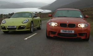 Porsche Cayman R vs BMW 1 Series M Video