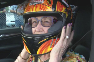 This 60-year old lady isn't afraid to lay down the rubber on the Drag