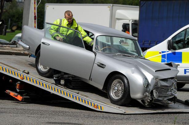 Aston Martin DB5 crash photographed by Jon Baxter / MEN Media
