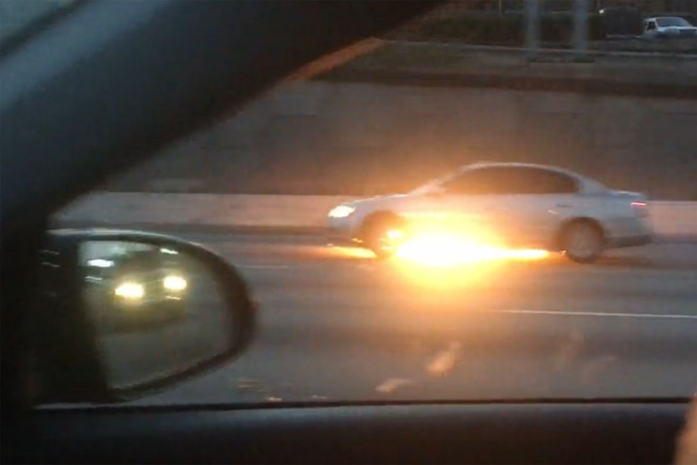 Car Fire in Traffic