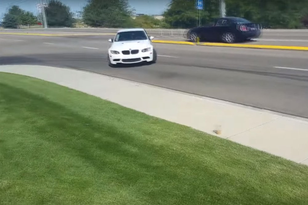 BMW M3 Almost Hits Car