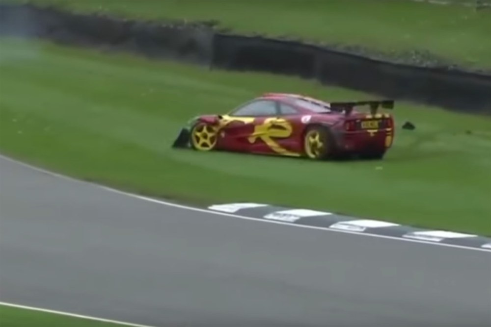 Nick Mason McLaren F1 GTR Crash Goodwood