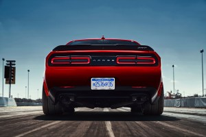 2018 Dodge Challenger SRT Demon reveals the car's wide body.