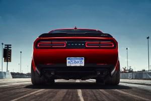 2018 Dodge Challenger SRT Demon reveals the car's wide body.