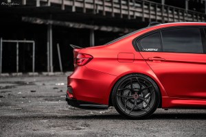 Satin Chrome Red BMW M3 with Brixton Forged PF5 Duo Series Wheels