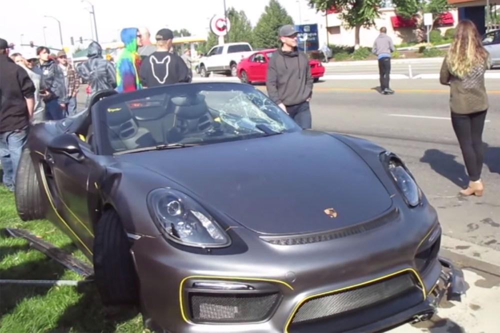 Friday FAIL Porsche Boxster Spyder Crashes into Crowd