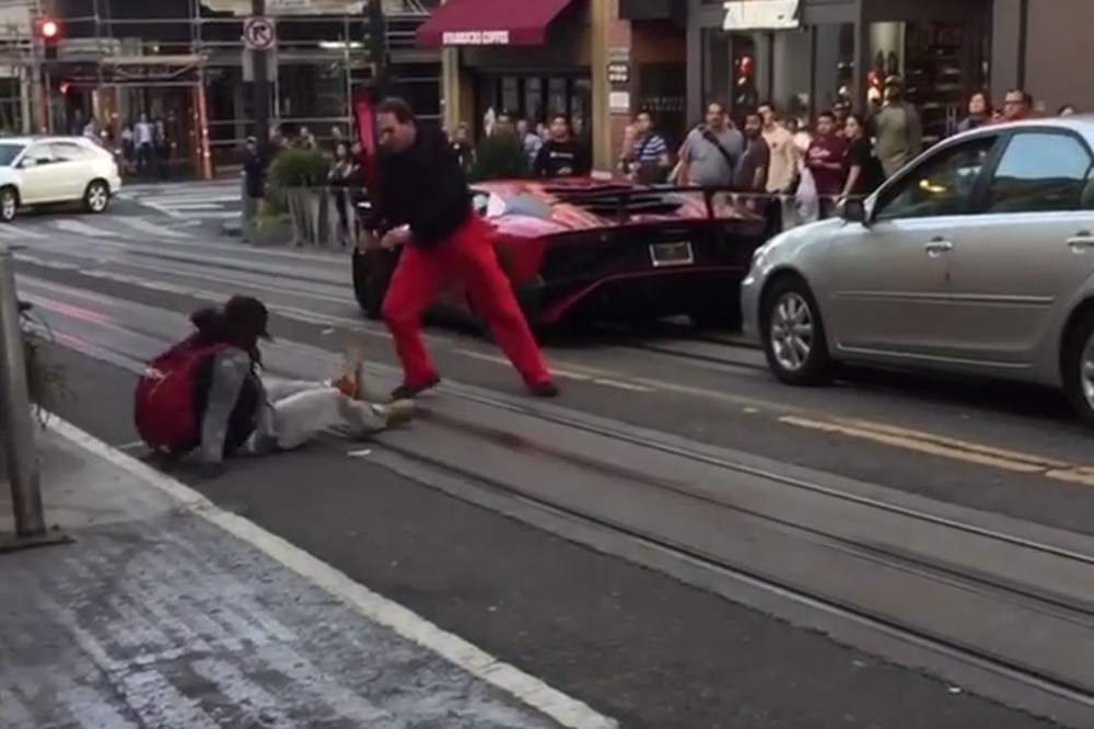 Guy Jumps on Lamborghini Aventador SV