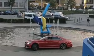 Mercedes-Benz CLS Stuck in a Water Fountain