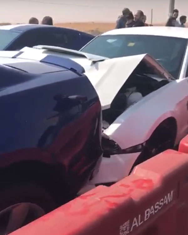 Ford Mustangs Crash at Dubai Car Meet