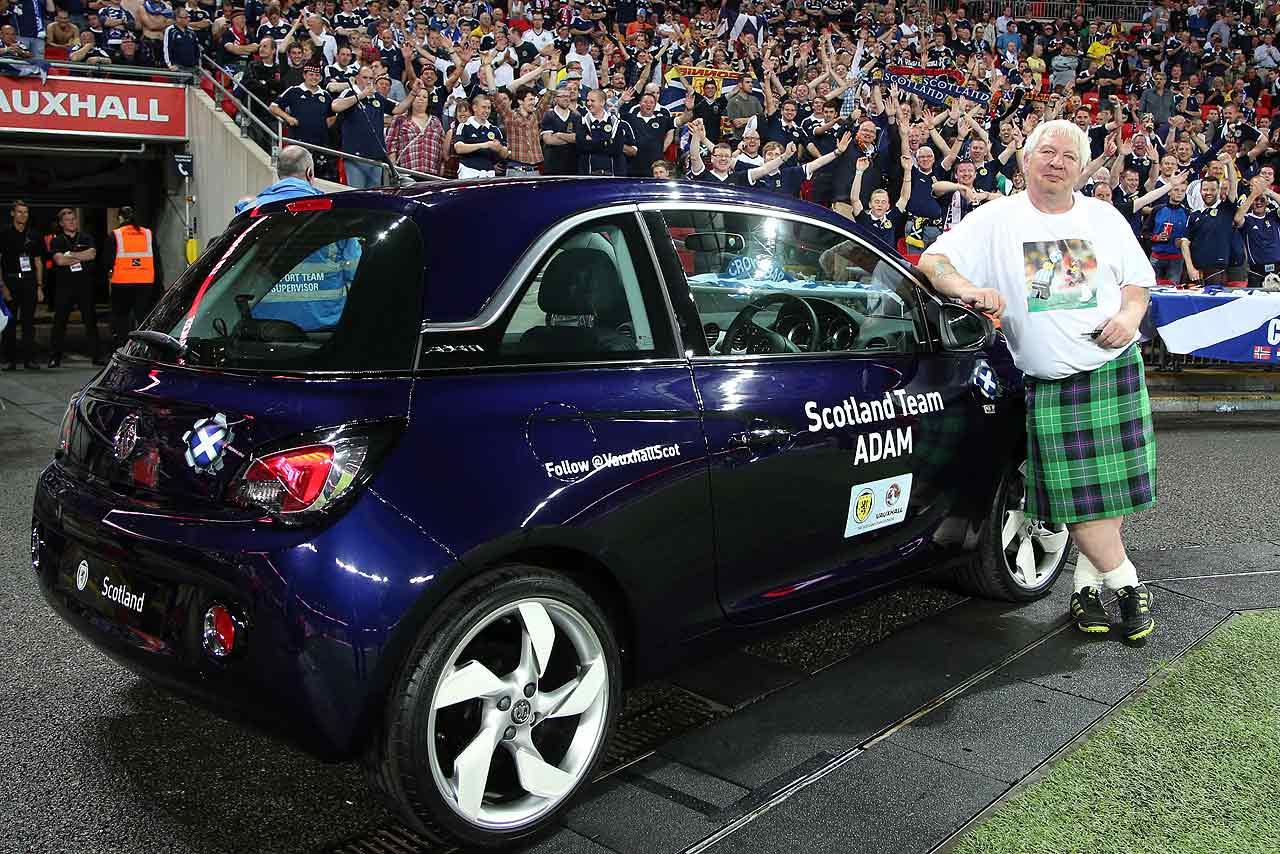 A Scottish football fan wins a Vauxhall Adam at Wembley