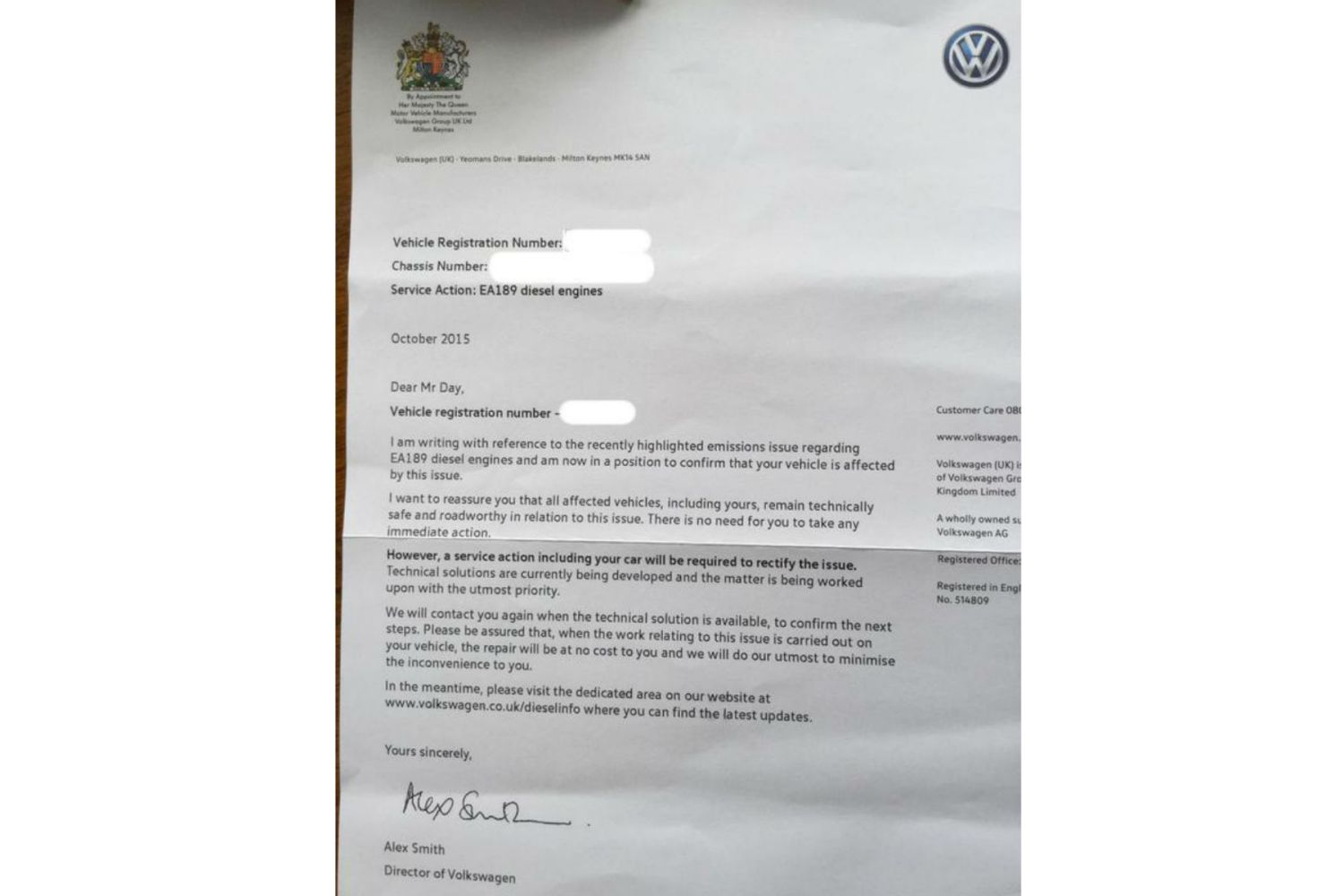 Volkswagen writes to owners of cars affected by emissions scandal