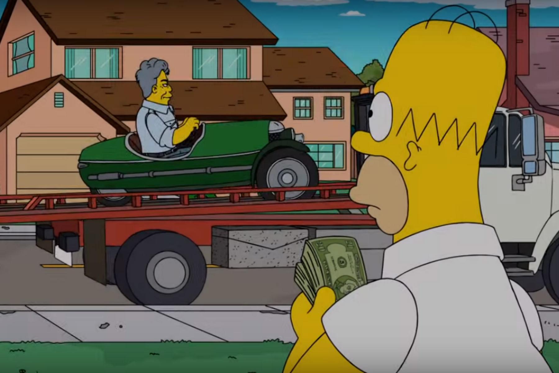 Jay Leno buys a Morgan 3 Wheeler from Homer Simpson