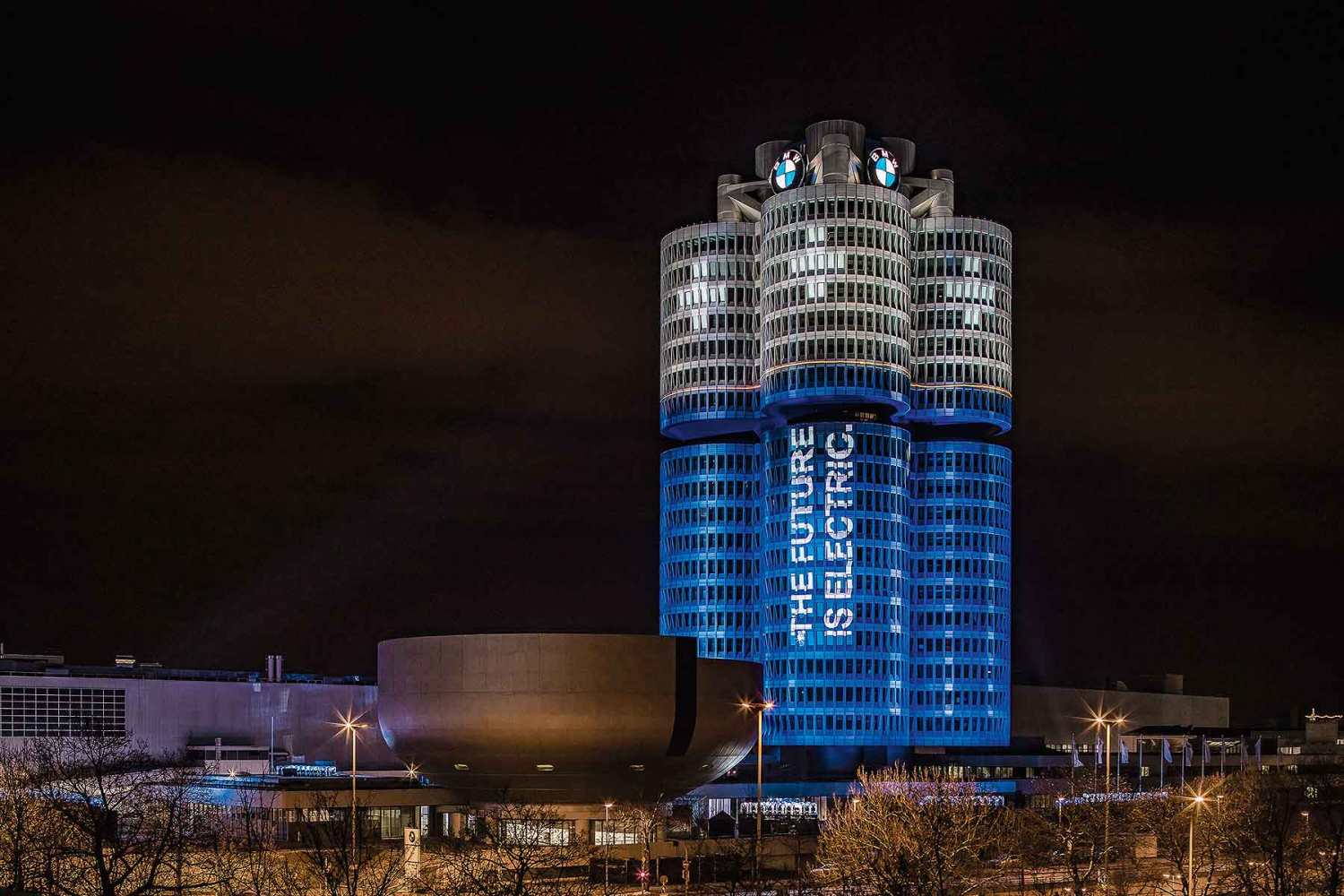 BMW Munich HQ lit like a battery