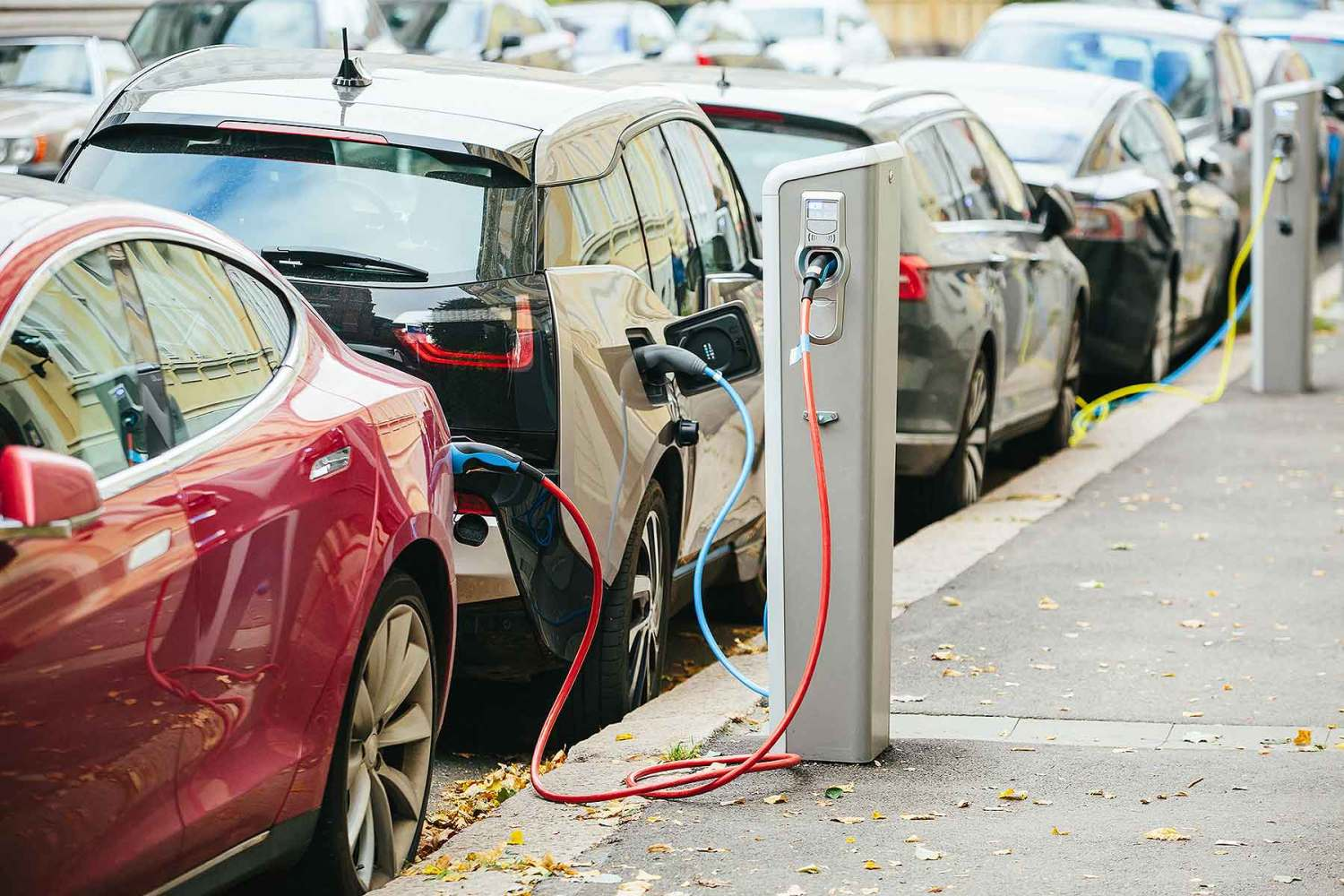 Electric car on-street charge points