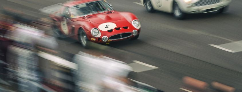 A Ferrari 250 GTO overtakes an Aston Martin DB4 GT. Taken by Richard Pardon for Goodwood