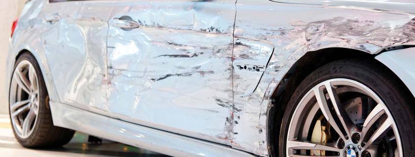 A sideswiped BMW M3
