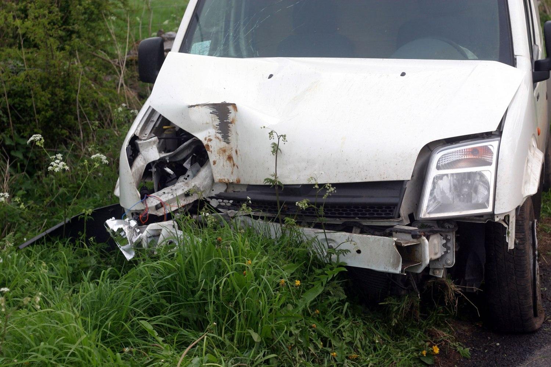 Crashed Ford van