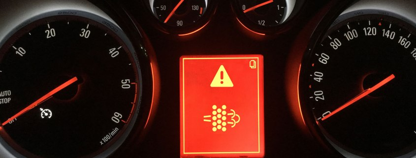 Diesel particulate filter warning light
