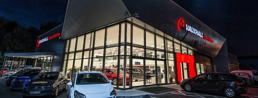 Vauxhall UK car dealer at night