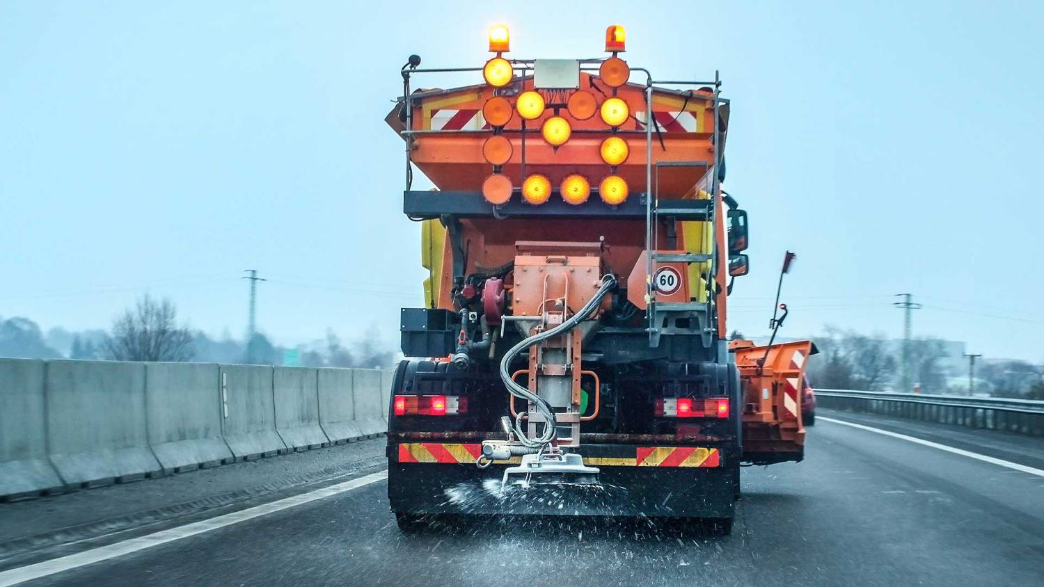Road gritter on the motorway