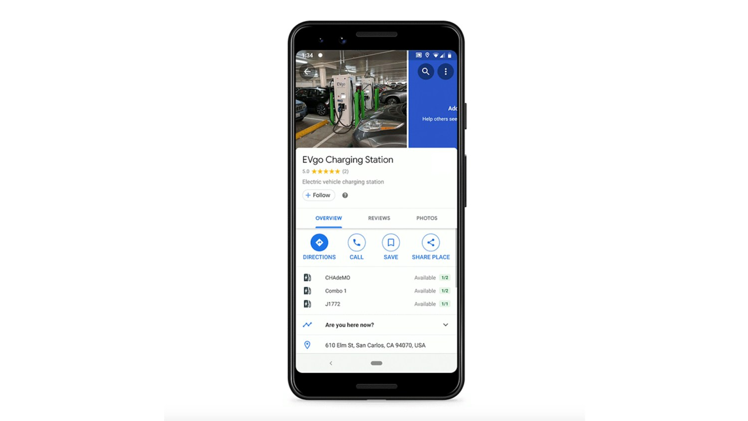 Google Maps Updated EV Charge Search
