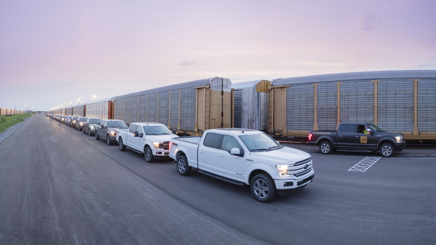 Electric Ford F-150 towing train