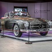 Classic Mercedes SL on display at Mercedes-Benz World