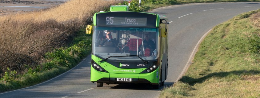 Bus destined for Truro in Cornwall