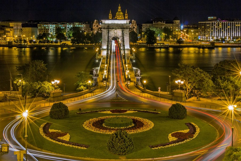 Chain Bridge with Roundabout, Budapest, Hungary