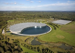 Aerial view of the McLaren Technology Centre (left) and McLaren Production Centre (right)