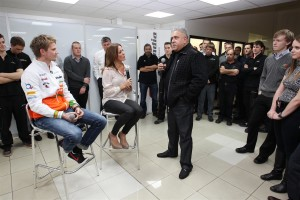 Dr Vijay Mallya introducing Nico Hulkenberg