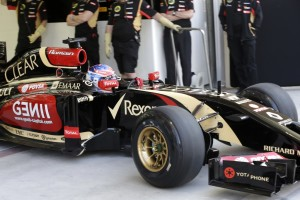 Romain Grosjean (Lotus) is coming out of the garage on Pirelli Winter hard tyres