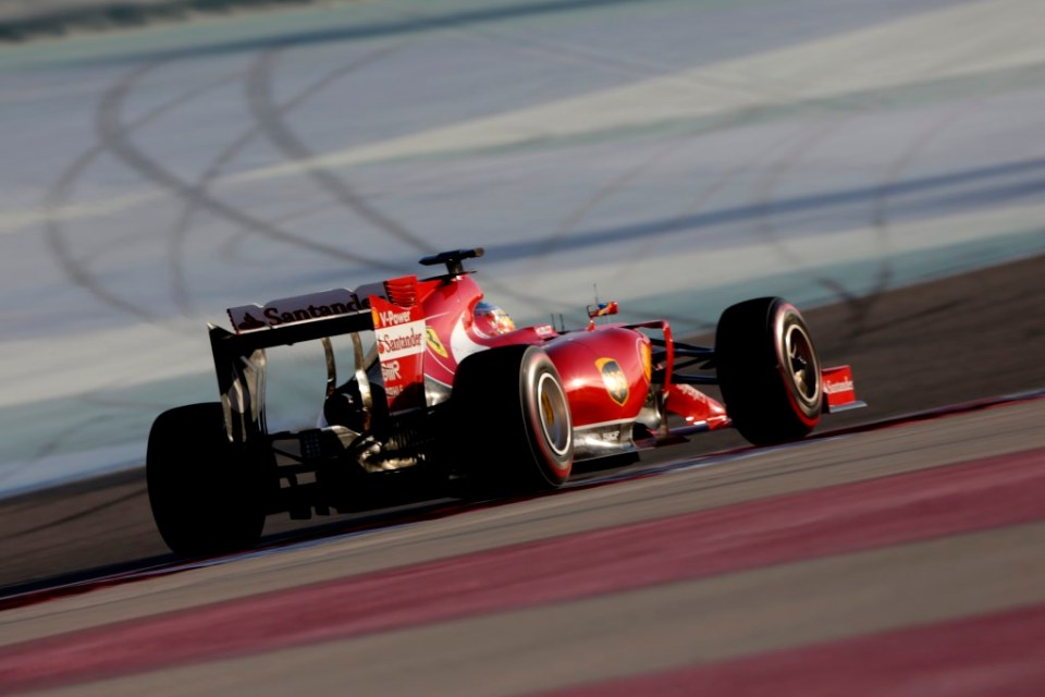 Fernando Alonso (Ferrari) on track with P Zero Red supersoft tyres (rear view)