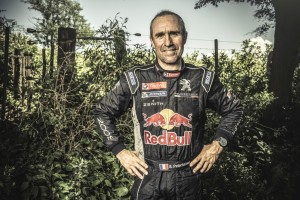 Stephane Peterhansel poses for a portrait at the finish line on stage 12 of Rally Dakar 2015 from Termas Rio Hondo to Rosario Argentina on January 16th, 2015