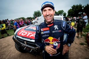 Stephane Peterhansel  is seen at the finish line of Rally Dakar 2015 in Baradero, Argentina on January 17th, 2015