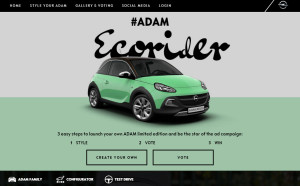 "Create your very own ADAM: The lifestyle bloggers will report on their experiences with the Opel ADAM on the campaign microsite www.adamyourself.com in the coming months – participation welcome! This will culminate in the fall of 2016 with the limited special model series ""ADAM YOURSELF""."