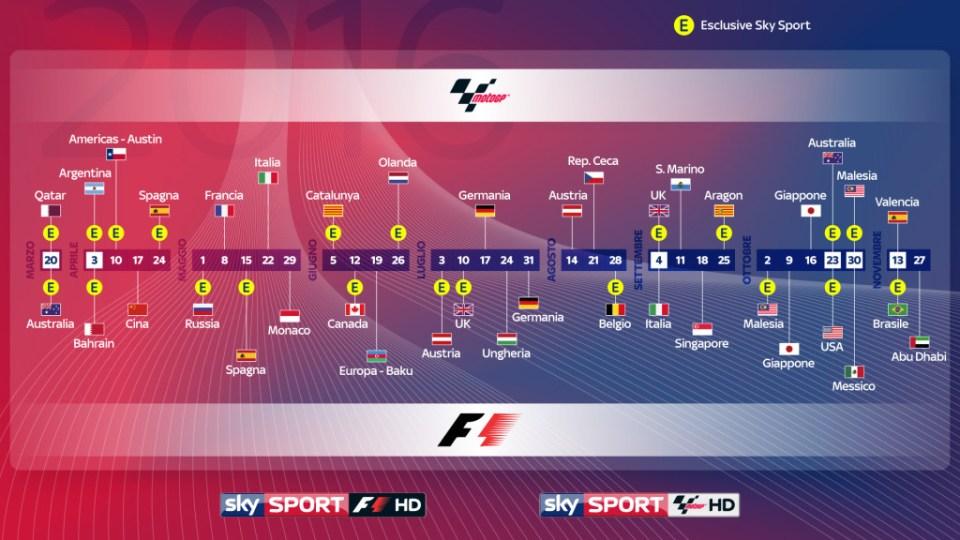 Calendario F1 e Moto