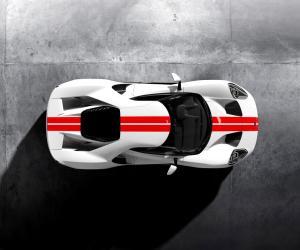 Frozen-White-Ford-GT-Race-Red-Stripe-Overhead (1)
